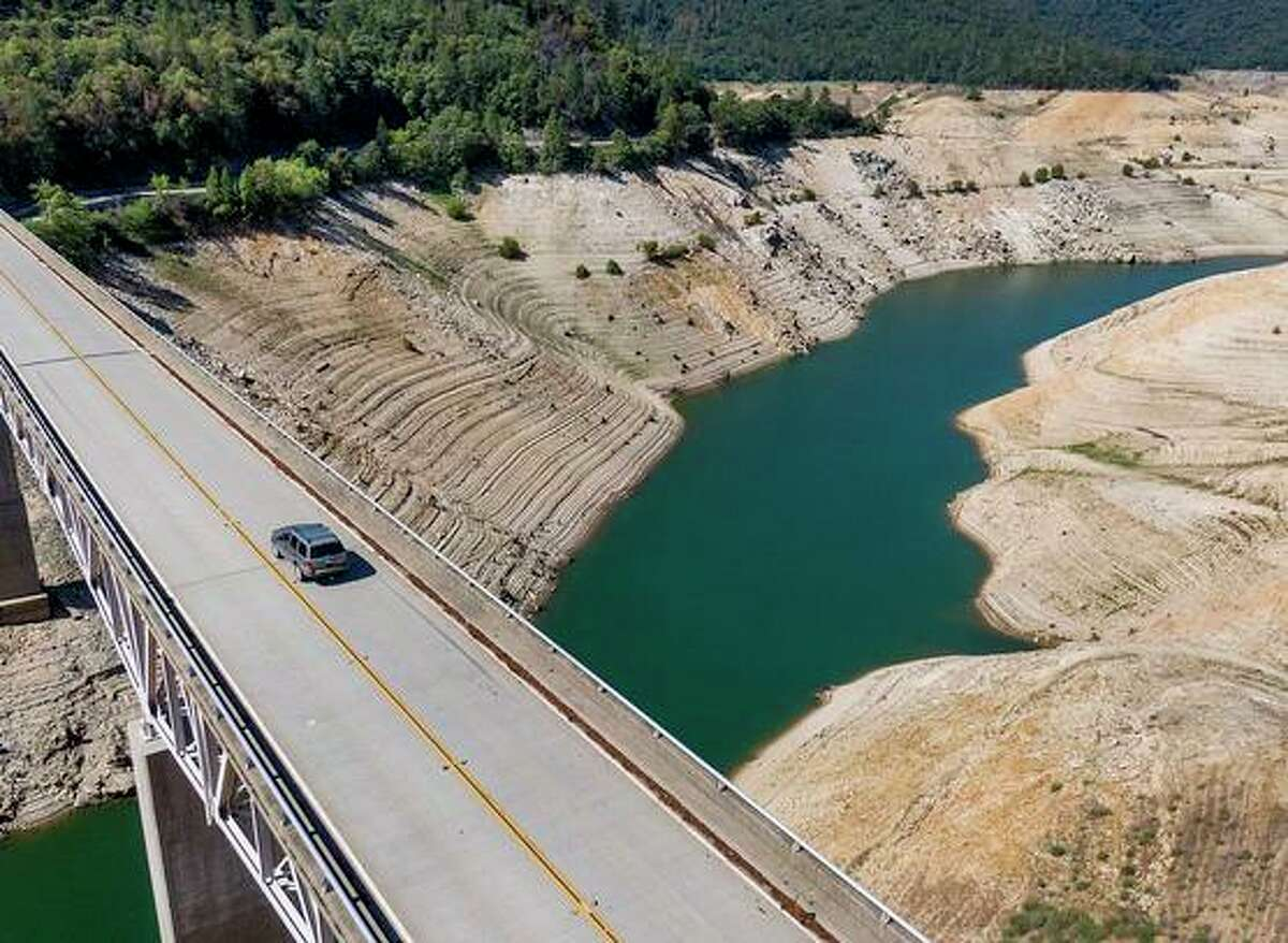 Enterprise Bridge over Lake Oroville, whose waters have reached an all-time low, is pictured in May.