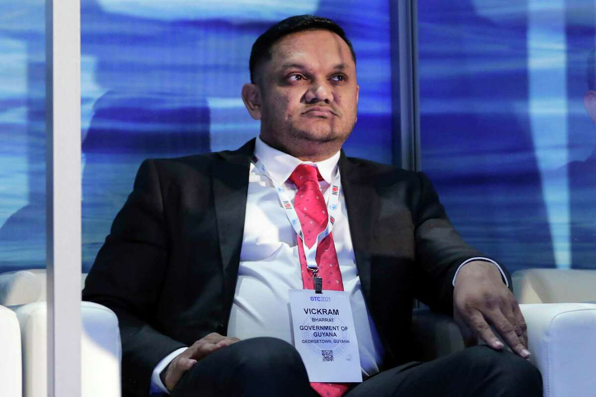 """Hon. Vickram Bharratt, M.P. of Guyana during a panel titled """"Around the World - Guyana"""" during the third day of the Offshore Technology Conference, held at the NRG Center Wednesday, Aug. 18, 2021 in Houston, TX."""