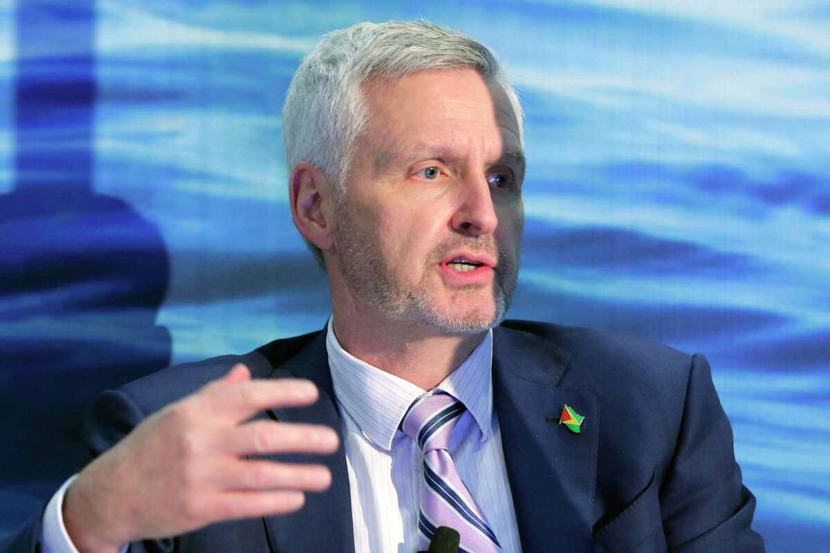 """Mike Cousins with ExxonMobil speaks during a panel titled """"Around the World - Guyana"""" during the third day of the Offshore Technology Conference, held at the NRG Center Wednesday, Aug. 18, 2021 in Houston, TX."""