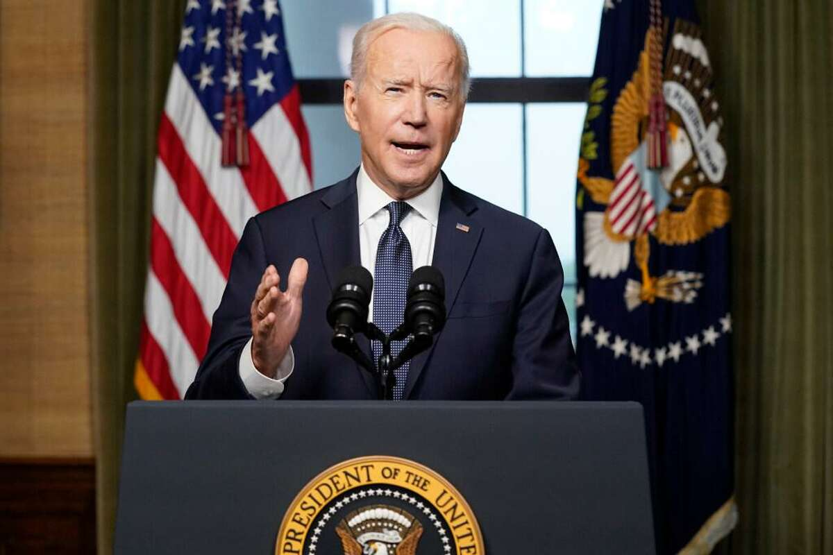 In this April 14, 2021, file photo President Joe Biden speaks from the Treaty Room in the White House about the withdrawal of the remainder of U.S. troops from Afghanistan.