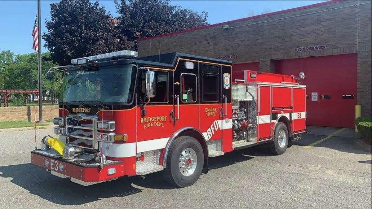 A Bridgeport firetruck. The Bridgeport Fire Department responded to a scrap metal recycling plant Wednesday afternoon after a man's toes got crushed.