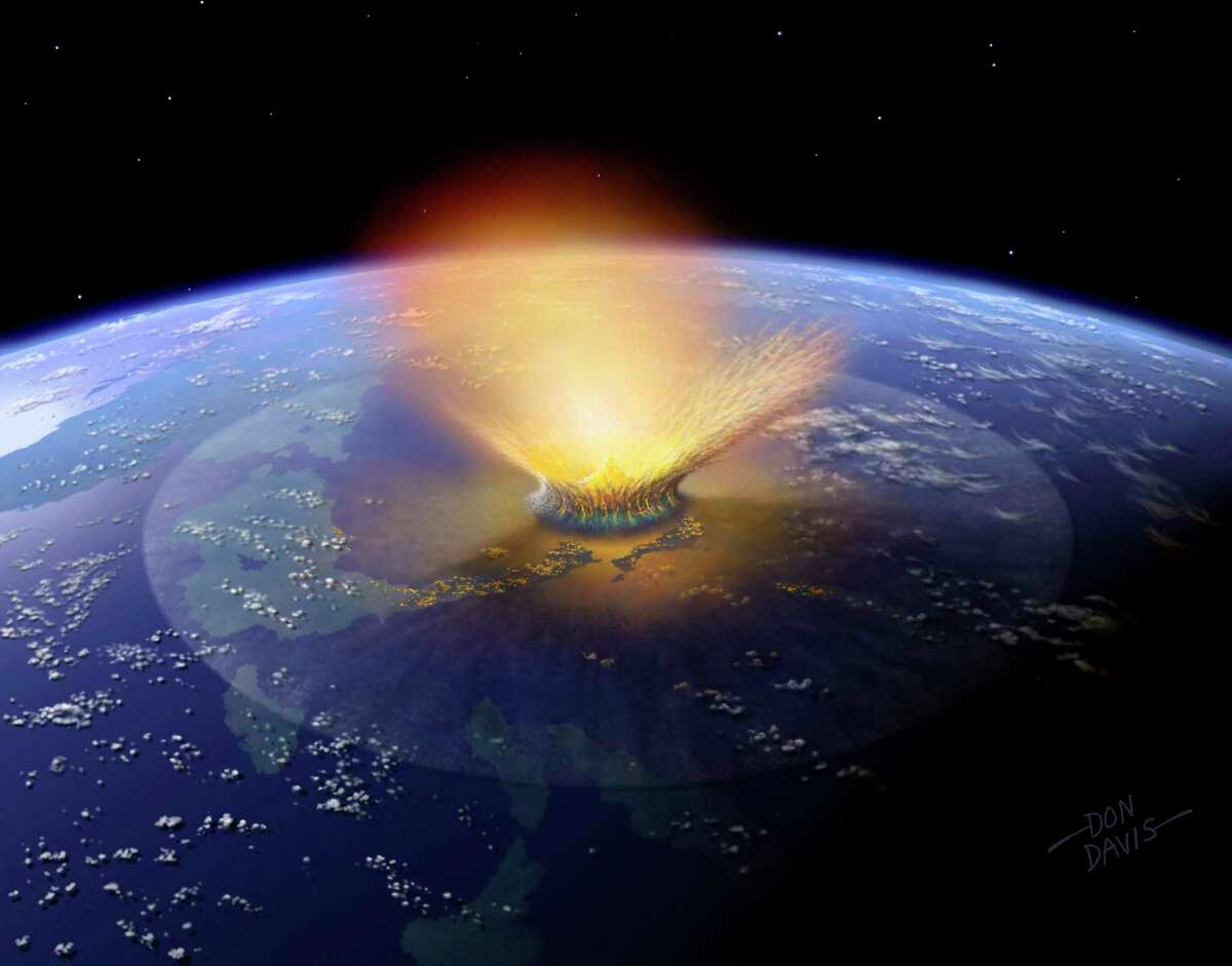 This is an artist's depiction of a huge asteroid striking Earth 66 million years ago, sending the dinosaurs and many other life forms into extinction.