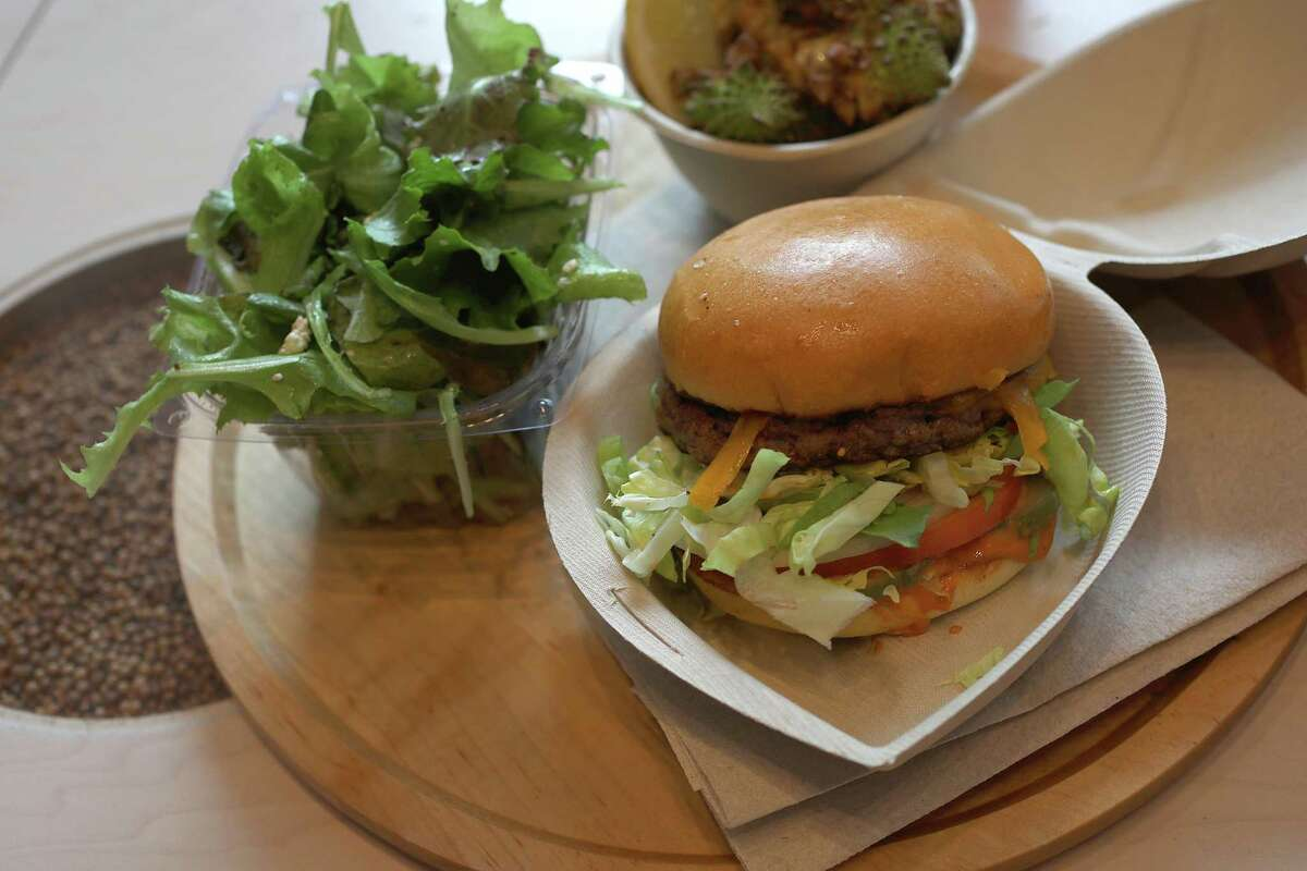 The Recreator burger with smoked cheddar, habanero sea salt and other toppings at Creator in San Francisco in 2019.