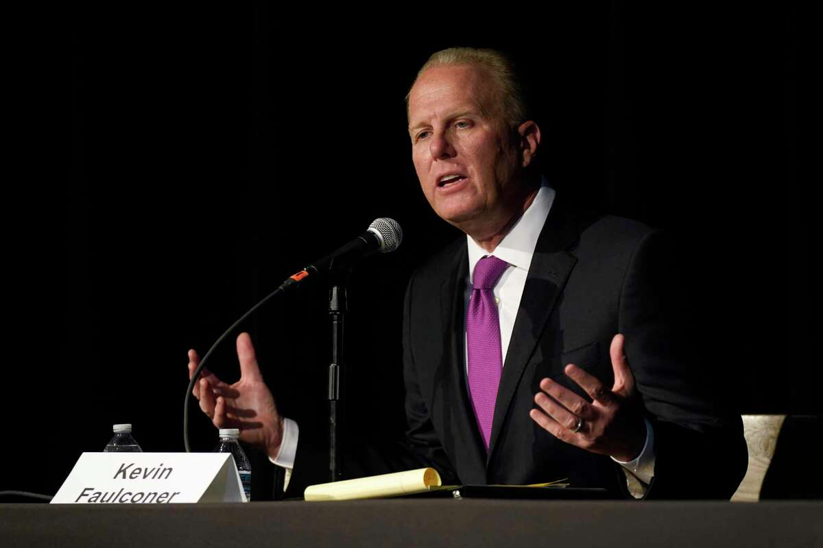 Republican gubernatorial recall candidate and former San Diego Mayor Kevin Faulconer responds to a question during a Tuesday debate held by the Sacramento Press Club. Faulconer went after fellow Republican Larry Elder for the first time, blasting some of his past comments regarding women in the workplace and saying they don't represent California's values.