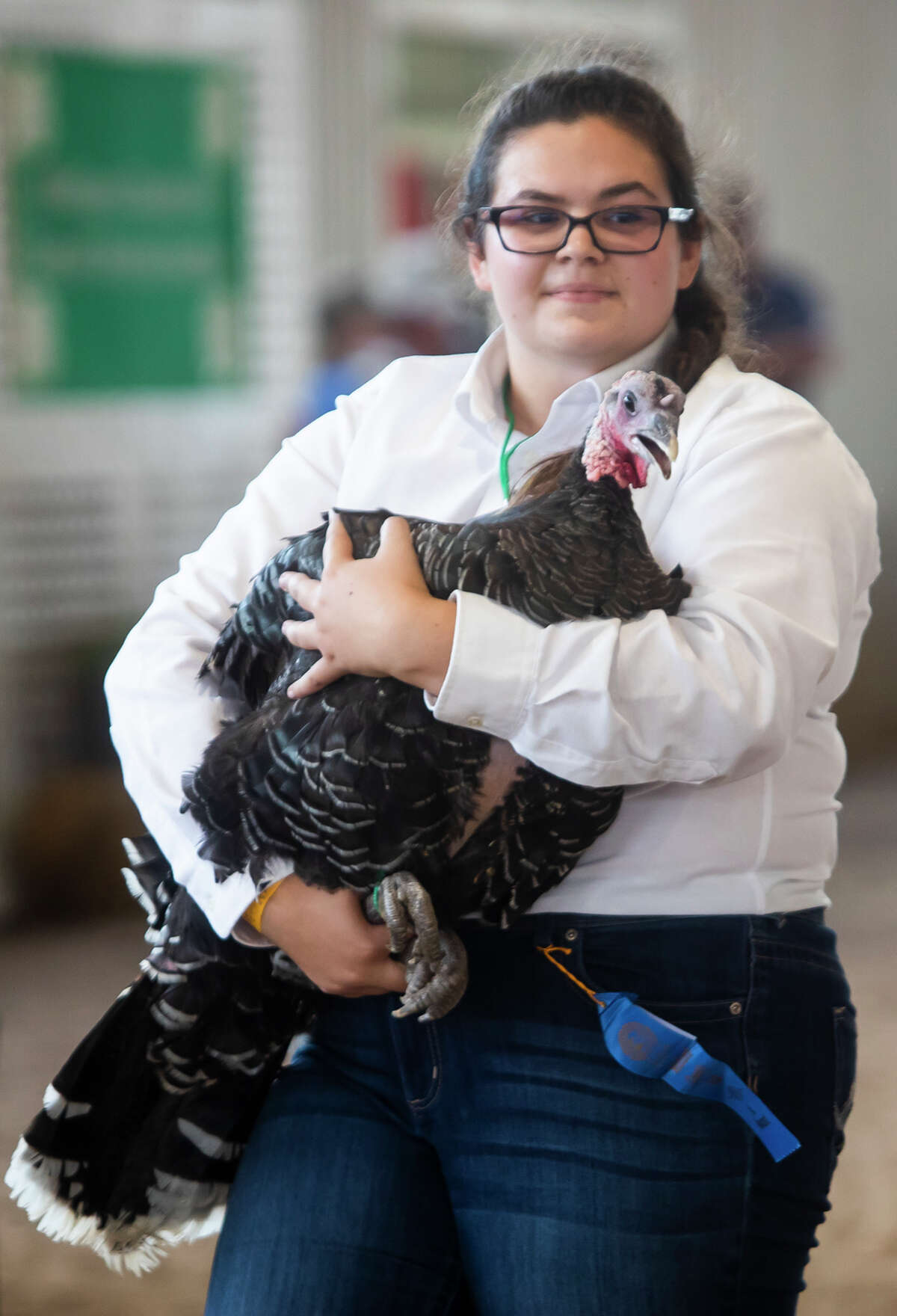 Kaylee Boyer shows her turkey during the Midland County Fair small animal auction Wednesday, Aug. 18, 2021 at the Midland County Fairgrounds. (Katy Kildee/kkildee@mdn.net)