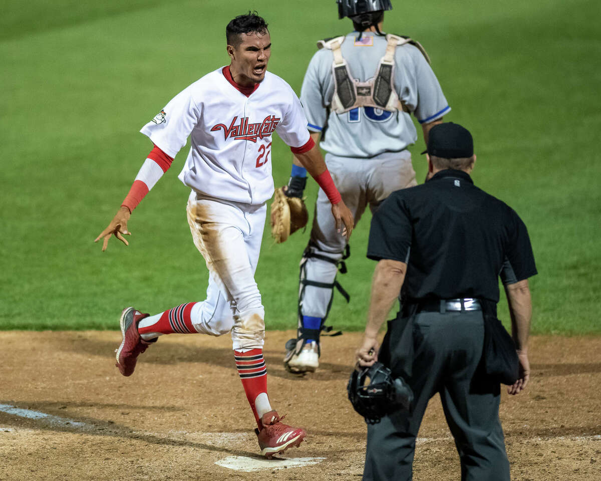 Tri-City ValleyCats shortstop Nelson Molina scores the game-winner in the bottom of the ninth against the New York Boulders at Joseph L. Bruno Stadium on Wednesday, Aug. 18, 2021.