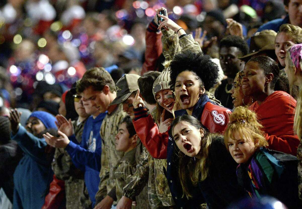 West Brook's fans cheer as they face Kingwood during their bi-district playoff opening game Friday at BISD Memorial Stadium. Photo taken Friday, November 15, 2019 Kim Brent/The Enterprise
