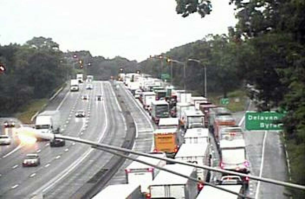 Traffic backed up on Interstate 95 in Greenwich, Conn., on Thursday, Aug. 19, 2021.