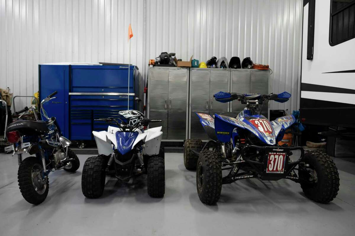 Off road vehicles are stored at Dan King's shop, Tuesday, Aug. 17, 2021, in Conroe. Off-road vehicles have enjoyed a rise in popularity since the pandemic started last year and some Montgomery County businesses catering to the recreation have seen a shortage of supplies.