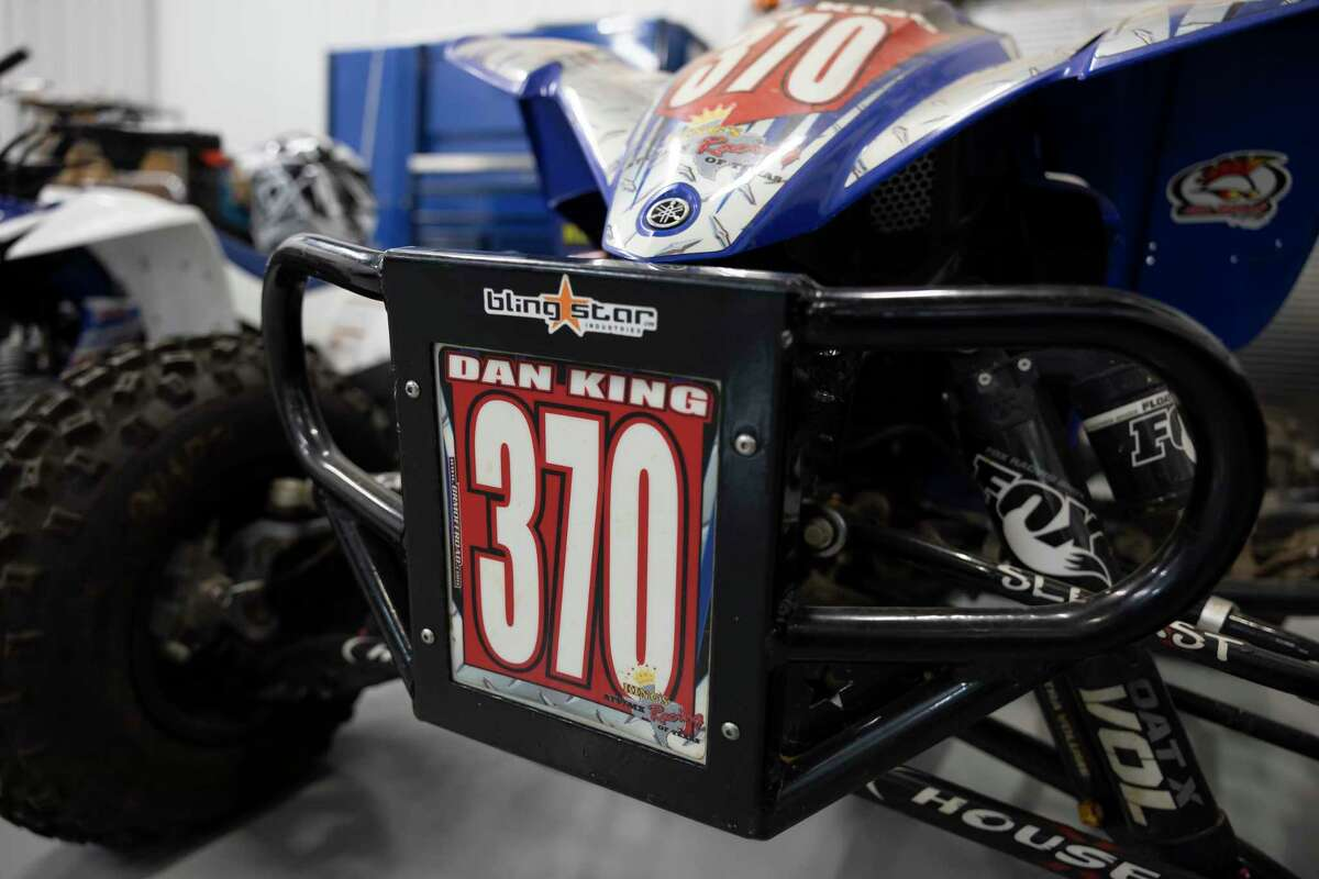 Custom decal is seen on an ATV held in storage at Dan King's shop, Tuesday, Aug. 17, 2021, in Conroe. Off-road vehicles have enjoyed a rise in popularity since the pandemic started last year and some Montgomery County businesses catering to the recreation have seen a shortage of supplies.