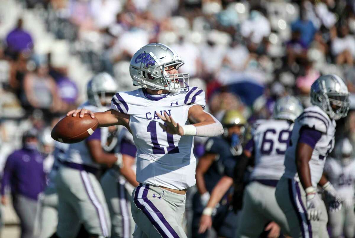 Klein Cain Hurricanes quarterback Carson Roper (11) passes the ball during the first half of a high school football game Saturday, Nov. 7, 2020, at Klein Memorial Stadium in Spring.