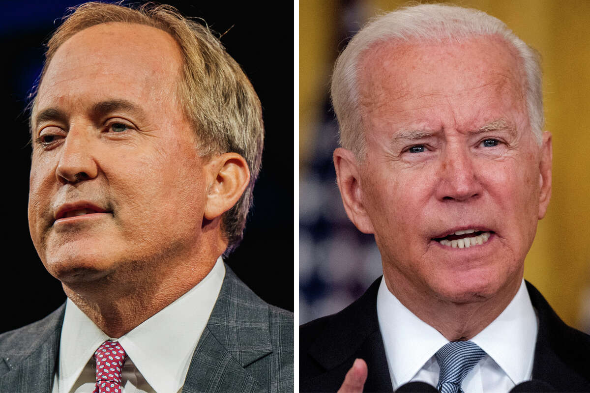 Texas AG Ken Paxton (left) and President Joe Biden (right) are pictured together in this composite image.