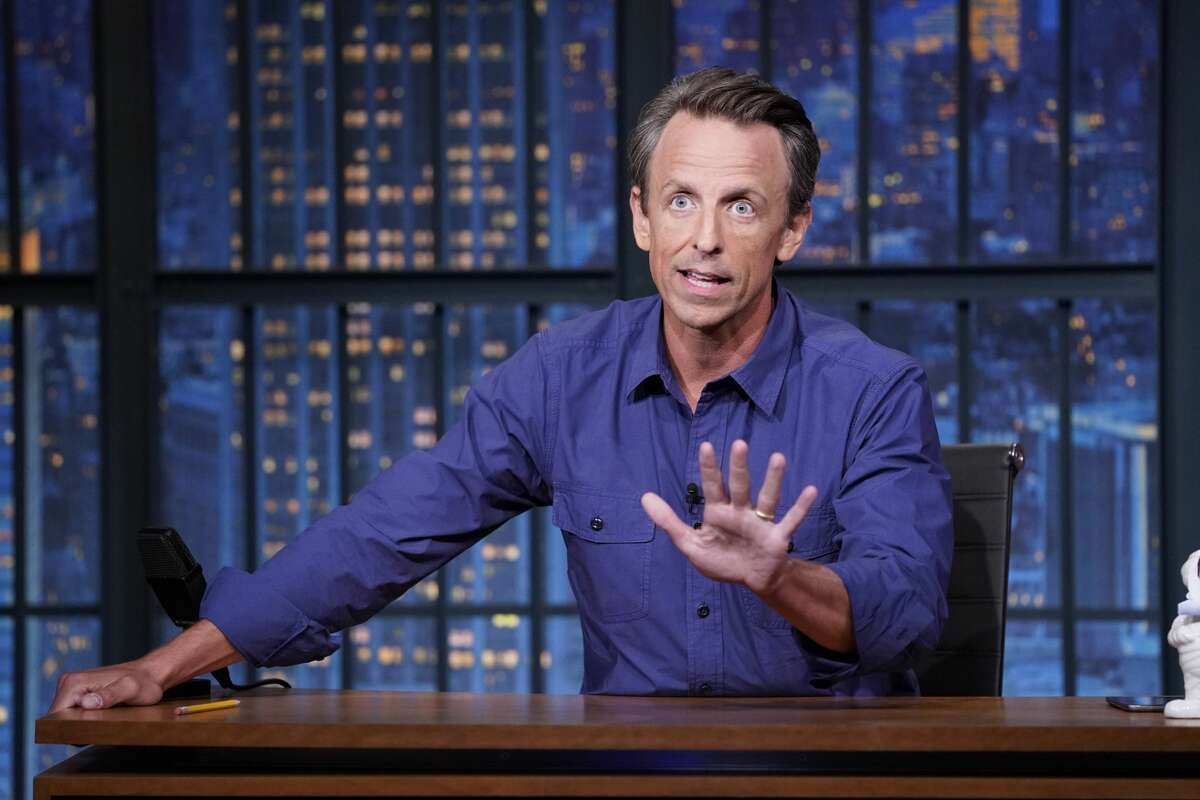 LATE NIGHT WITH SETH MEYERS -- Episode 1179A -- Pictured: Host Seth Meyers during the monologue on August 16, 2021 -- (Photo by: Lloyd Bishop/NBC/NBCU Photo Bank via Getty Images)