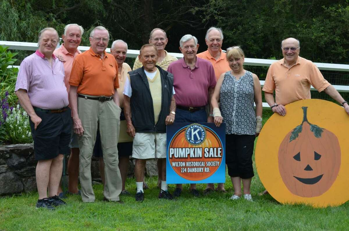 Think it's too early to think about pumpkins? Not if you are on the Wilton Kiwanis Pumpkin Patch committee, who just met on Tuesday Aug 10, to plan for the big event in the Kiwanis Club of Wilton's schedule, the Kiwanis pumpkin sale. The pumpkins will arrive this year on Sat. Sept. 25, at the Wilton Historical Society, which is located at 224 Danbury Road in the town. Pictured from the left to the right are people: Dan Mahoney, Mike Safko, Bill Brennan, Bob Tortorella, Ray Moskow, Jerry Sprole. Paul Hannah, Den Taylor, Mary Anne Franco and Rudi Hoefling.