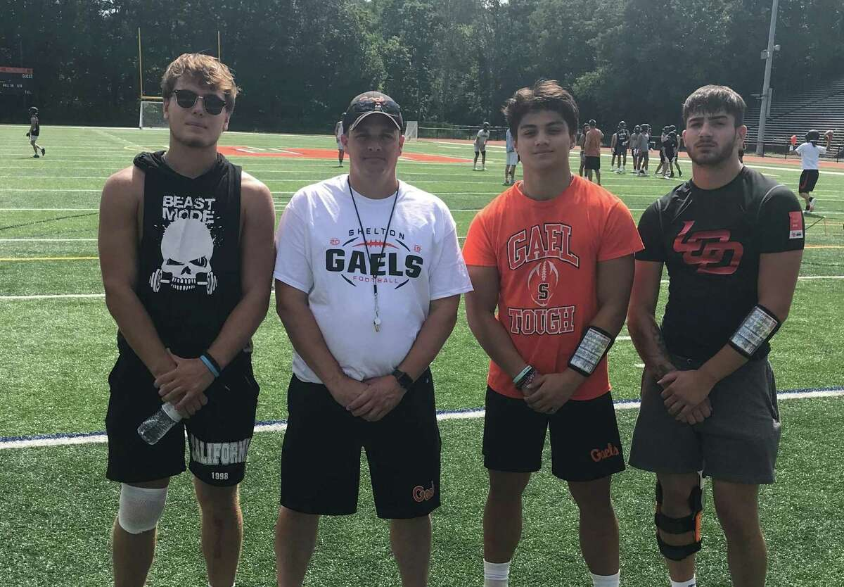 Shelton football coach Mike DeFelice took his team out on the field for its first practice on Monday. DeFelice's first team will be captained by Matthew Lockavitch, Jacob Villalobos and Tyler Rich.