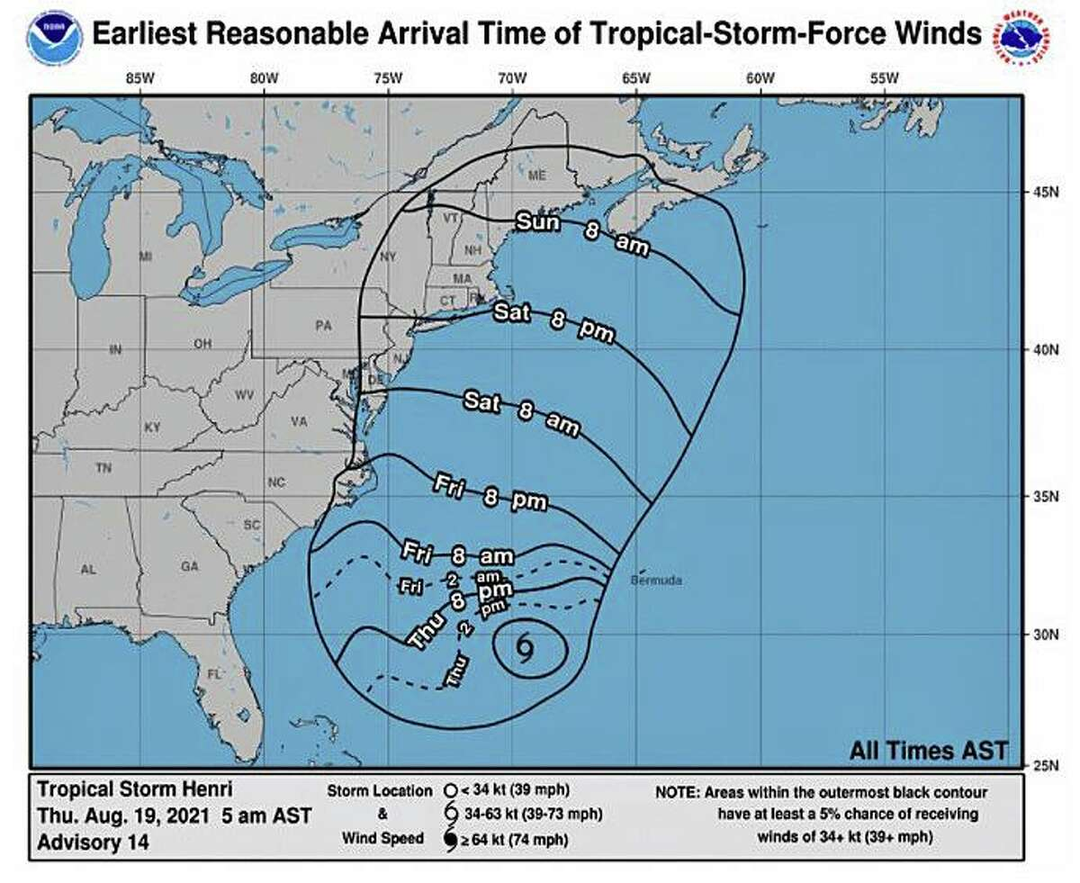 The current forecast indicates the effects of the tropical storm should reach the Connecticut are by Saturday, Aug. 21, 2021.