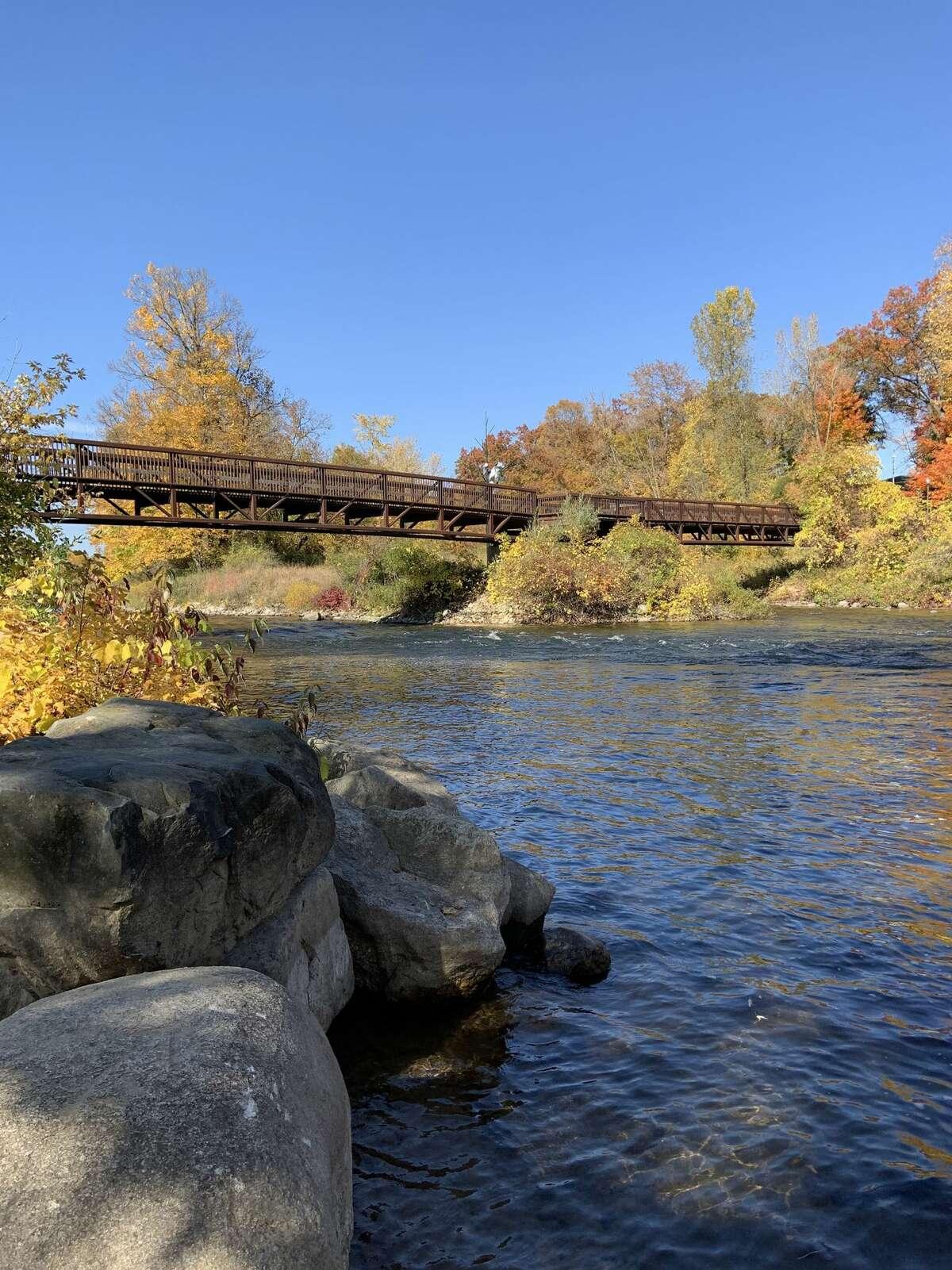 Rocks line the shore of the Muskegon River near the Riverwalk in Big Rapids. (Pioneer photo/Julie Norwood)