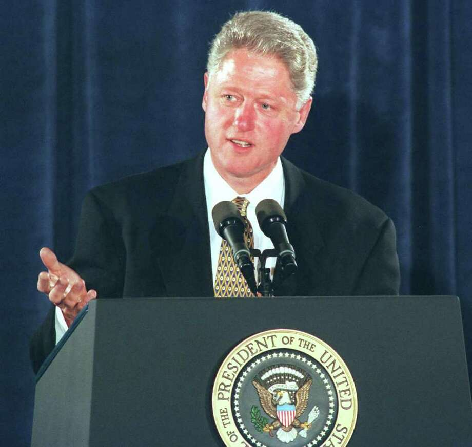 President Bill Clinton speaks to a group of Connecticut Democrats at a fundraiser at the Stamford Marriott.  May 22, 1996. Scroll through for a look at presidents in Connecticut. Photo: File Photo / Stamford Advocate File Photo