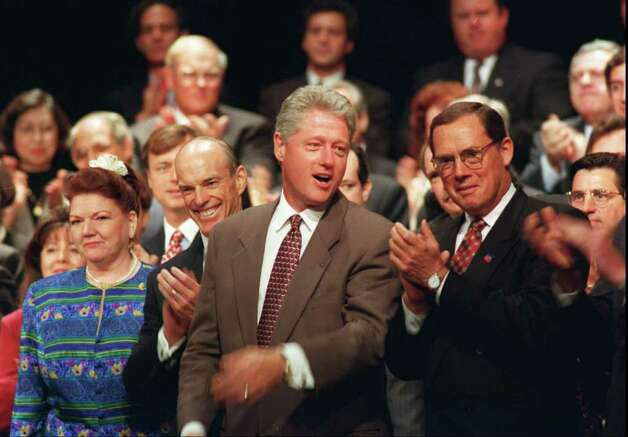 1996: President Bill Clinton visited Stamford and spoke at the Rich Forum.  Paul Allaire of CEO Xerox corp in Stamford is at the right. Photo: File Photo / Stamford Advocate File Photo