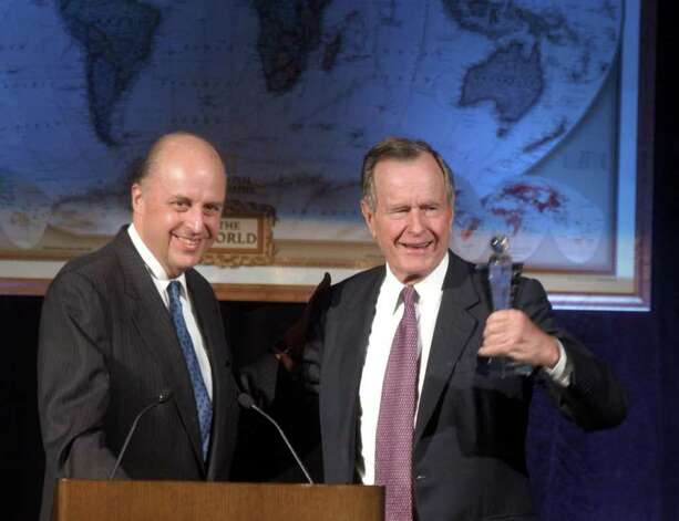 2003: Former President George H.W. Bush receives the Altschul Award in a dinner at the Westin Hotel in Stamford. Photo: File Photo / Stamford Advocate File Photo