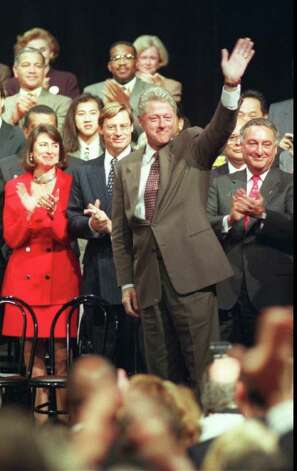1996: President Bill Clinton speaks to about 300 guests at the Rich Forum in Stamford. Clinton made the stop in Stamford following Sunday's debate in Hartford. Photo: File Photo / Stamford Advocate File Photo