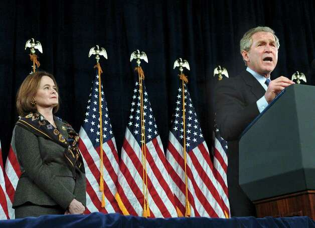 2004: President George W. Bush, right,  speaks during a fund raiser at the Hyatt Regency Hotel in Greenwich,  as Bush's second cousin, Debbie Stapleton, left, listens. Photo: File Photo / Stamford Advocate File Photo