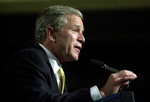 2002: President George W. Bush speaks to a group at the Hyatt in Greenwich during a fund-raising trip. Photo: File Photo / Stamford Advocate File Photo