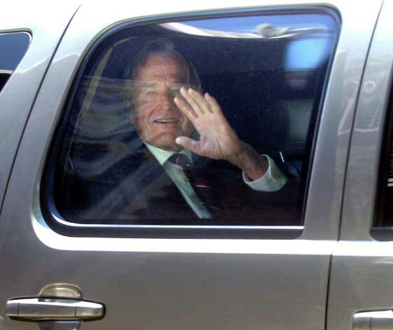 2010: Former President George H.W. Bush leaving the memorial service for his brother Prescott Bush Jr. at Christ Church Greenwich. Photo: File Photo / Stamford Advocate File Photo