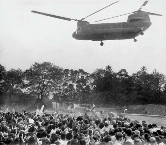 1970: President Richard Nixon and entourage leave via helicopter from a dedication ceremony at the Italian Center building on Newfield Avenue. He landed in the front lawn of the center in his presidential helicopter. Photo: File Photo / Stamford Advocate File Photo