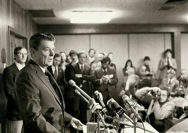 1980: Ronald Reagan, on a campaign stop in Stamford, talks to businessmen at the Southwestern Area Commerce and Industry Association. Photo: File Photo / Stamford Advocate File Photo