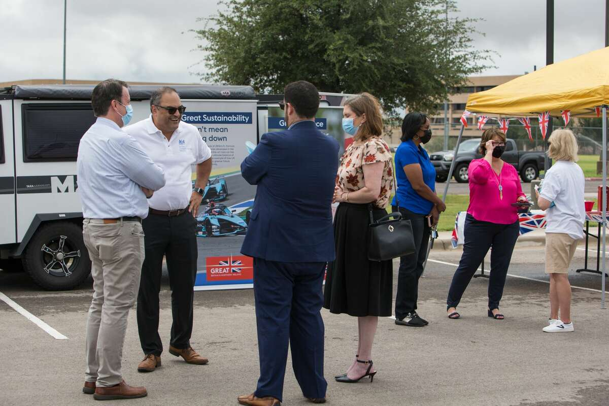 British Consul General Richard Hyde, out of Houston, talks with visitors at the pop-up consul at the University of Texas Permian Basin.