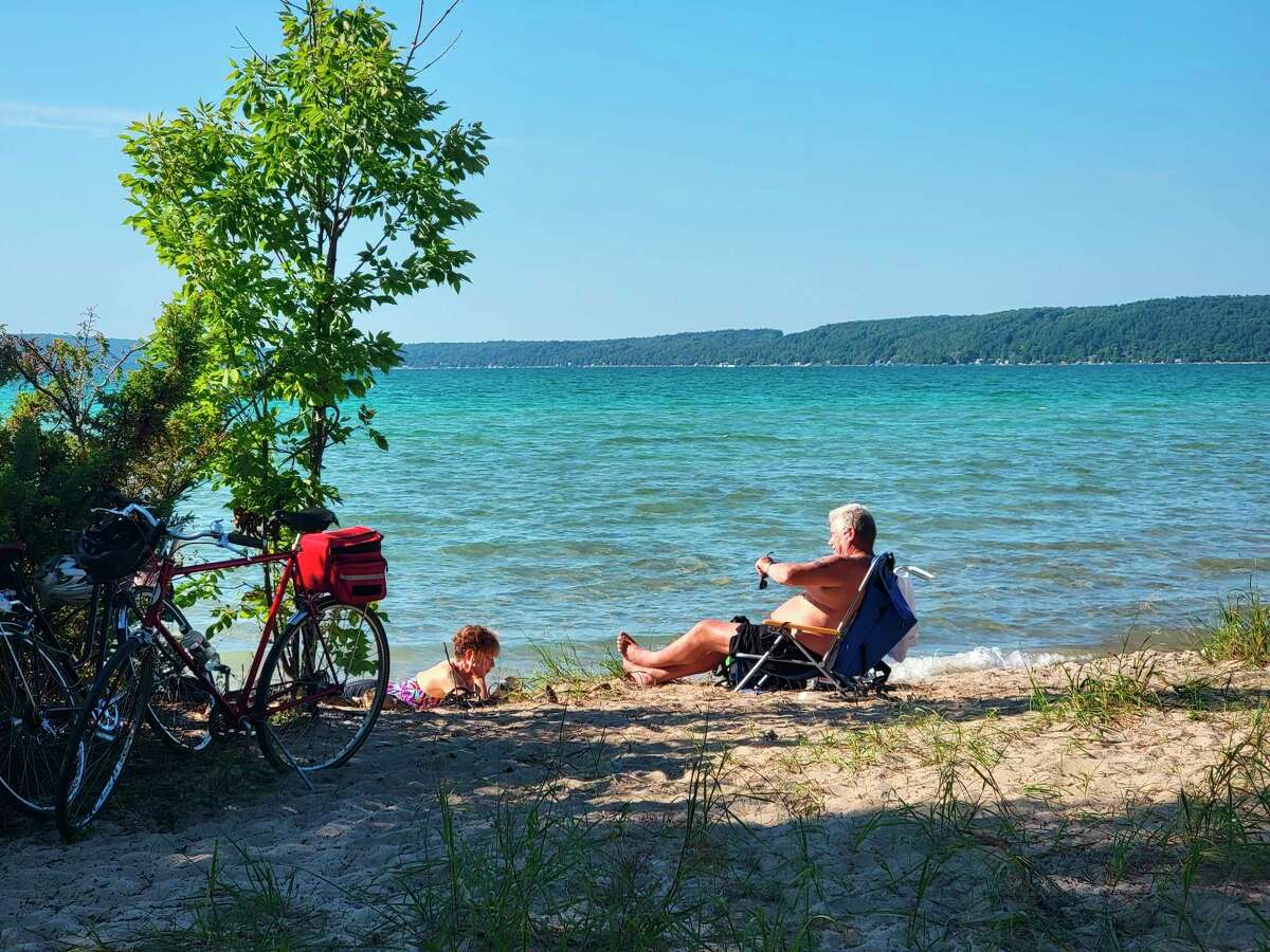 A public beach area by the Crystal Lake outlet may see some improvements now that Benzie County has leased the land from the Department of Natural Resources. (Colin Merry/Record Patriot)