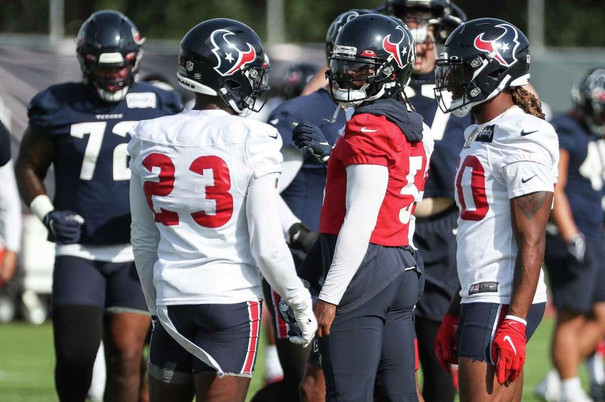 Houston Texans quarterback Tyrod Taylor (5) during an NFL training camp football practice Thursday, Aug. 19, 2021, in Houston.