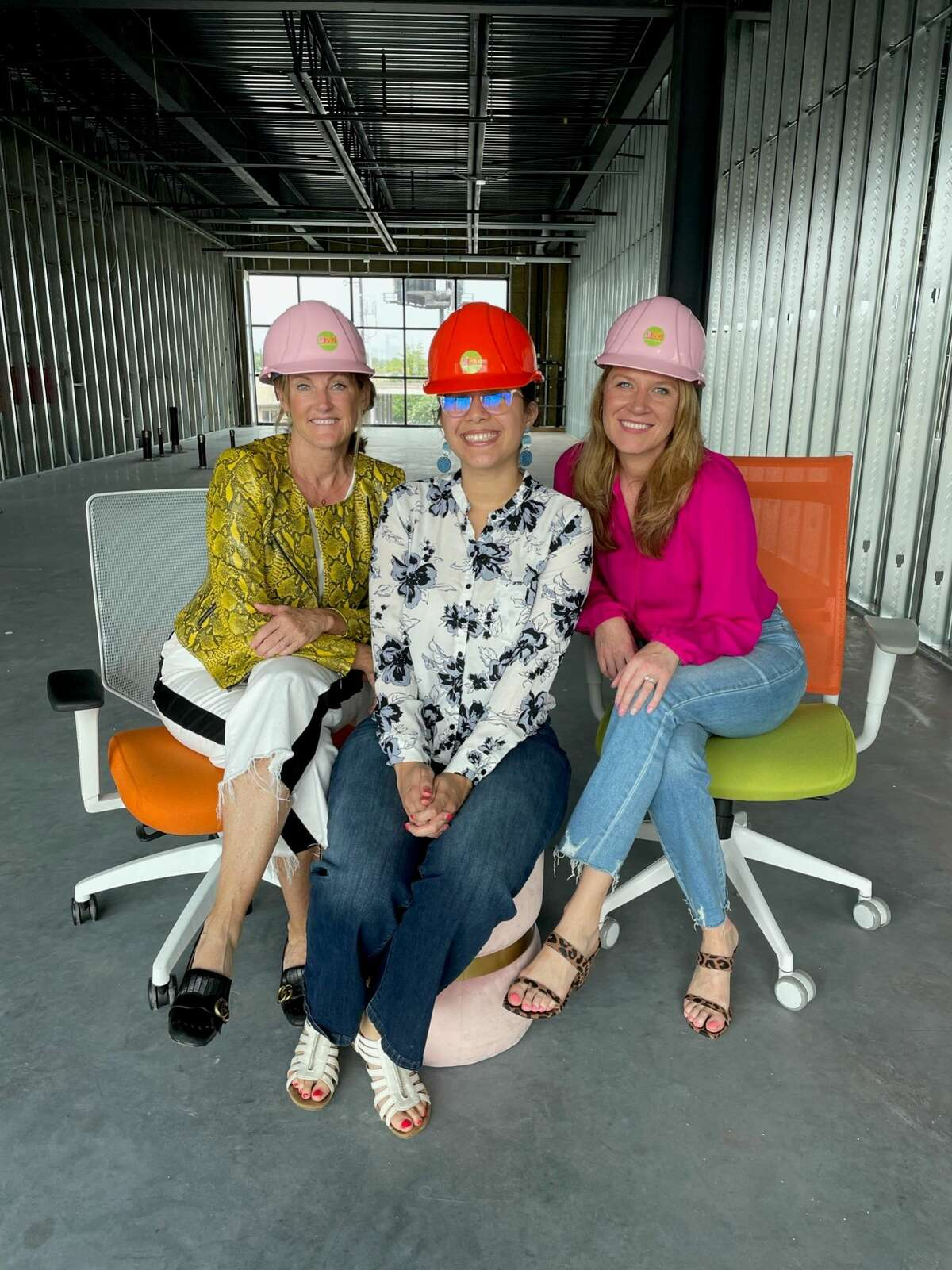SheSpace founders Stephanie and Katie Tsuru with the lead architect on the expansion, Norgerie Rivas of Estudio in the new space.SheSpace is expanding at 2799 Katy Freeway by 1,500 square feet.