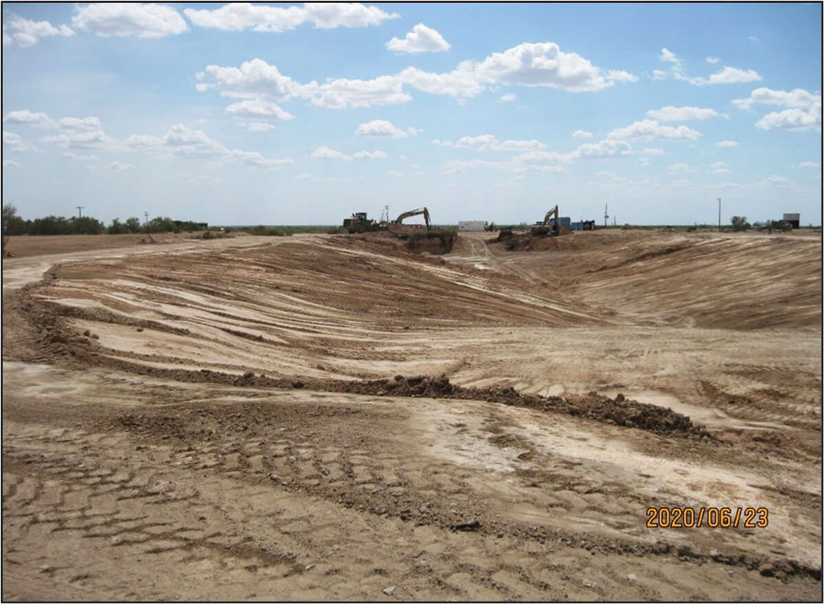 After four years, the Railroad Commission has completed its $9 million clean up of the Wheeler Road Westex Notrees surface waste disposal facility near Odessa, shown as the final open pit is closed and clean-up nears completion.