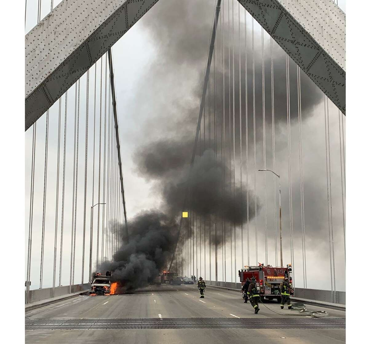 A truck fire on the Bay Bridge is blocking traffic and causing severe delays.