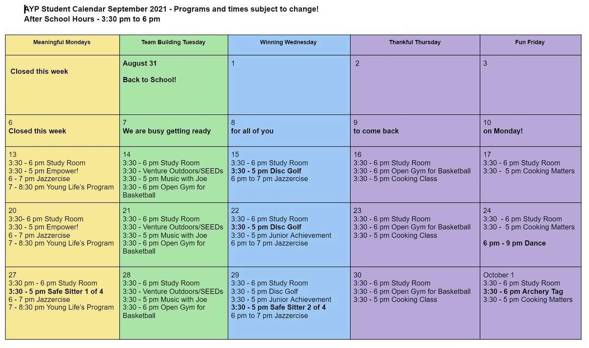 The Armory Youth Project has announced its September programming. (Courtesy graphic)