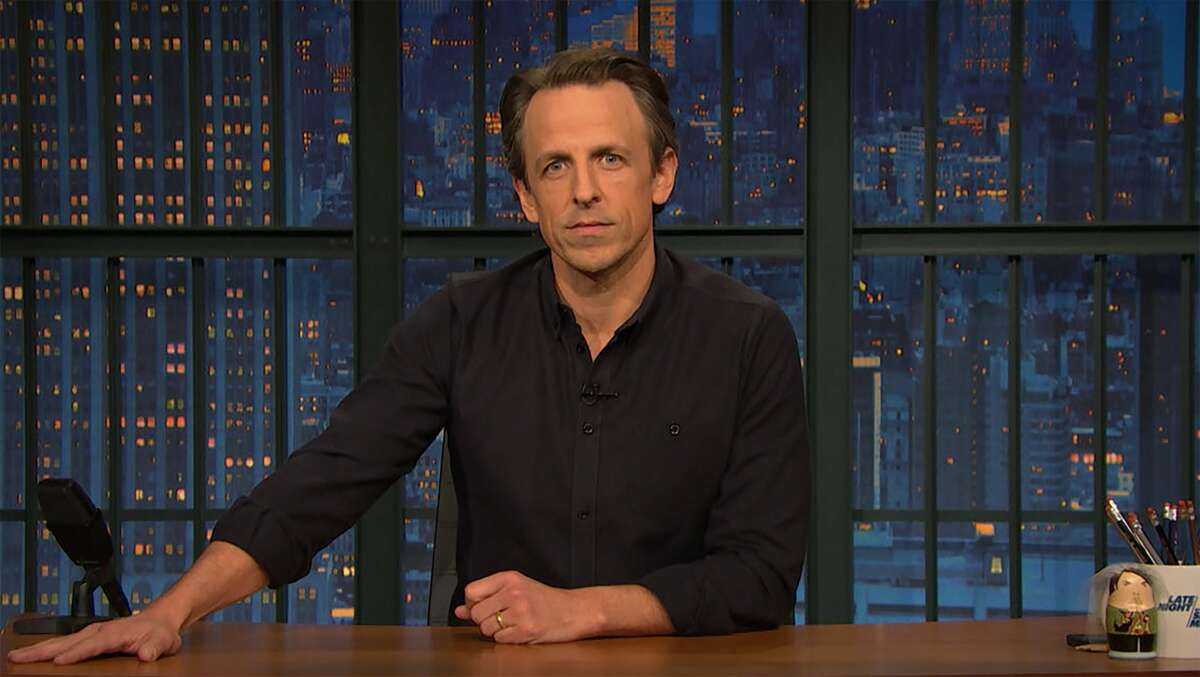 """This image released by NBC shows host Seth Meyers during his monologue Wednesday, Jan. 6, 2021 on """"Late Show with Seth Meyers."""" Meyers on Wednesday night took a jab at Texas Gov. Greg Abbott for his COVID-19 diagnosis."""