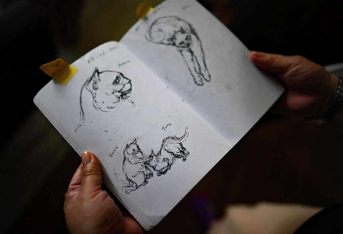 Yoko Misu looks through her sketch book, in which she draws daily. She often sketches her cats.