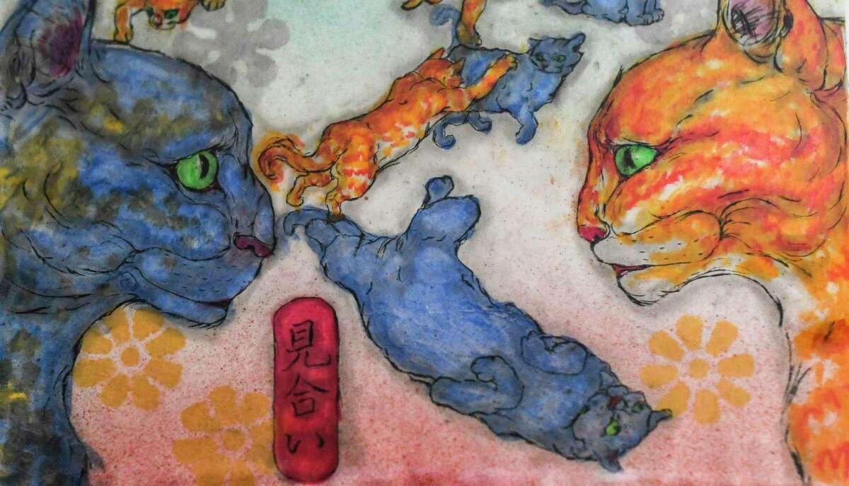 Yoko Misu's cats are the subject of much of her artwork.
