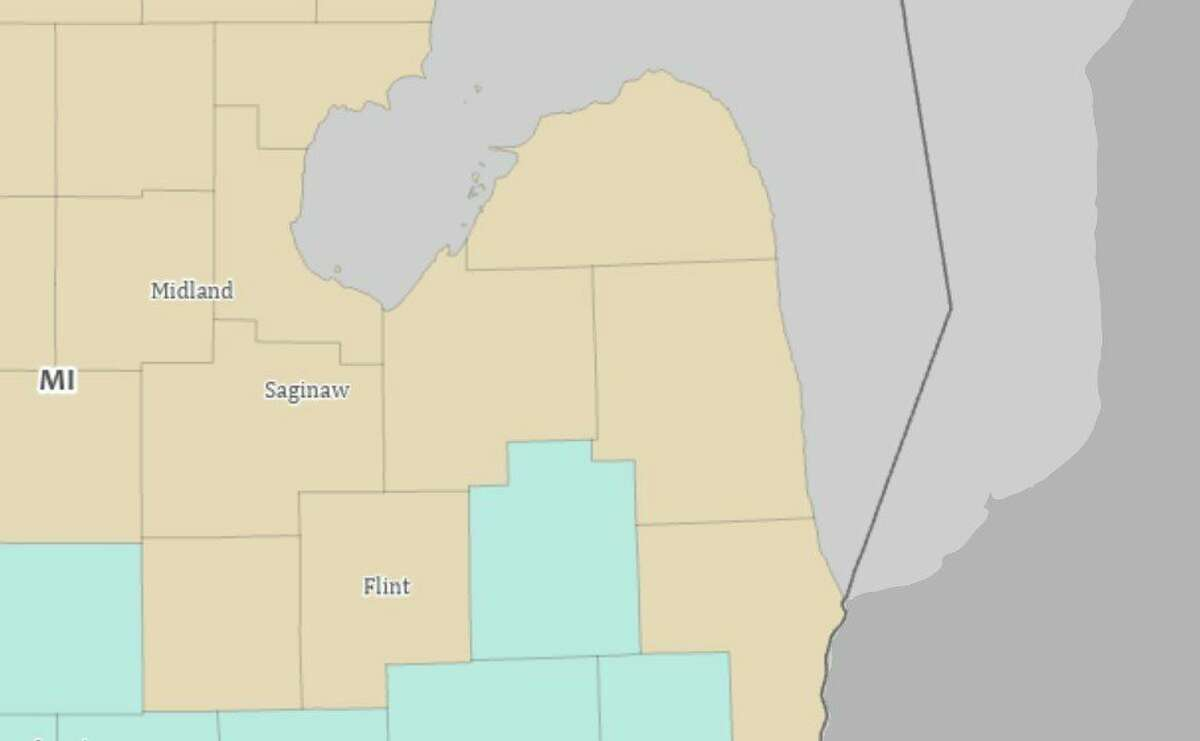 This map taken from the United State Census' interactive map shows that Huron County, along with all the counties surrounding Lake Huron, experienced population loss over the last 10 years. Huron County lost 5.2% of its population in that time, or 1,711 residents. (United States Census Bureau/Courtesy Photo)