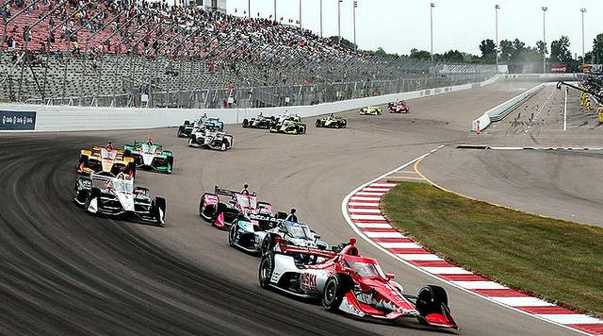 The field of cars hits a curve during of the 2020 Bommarito 500 IndyCar races last year at World Wide Technology Raceway in Madison. The 2021 race will be held Saturday.