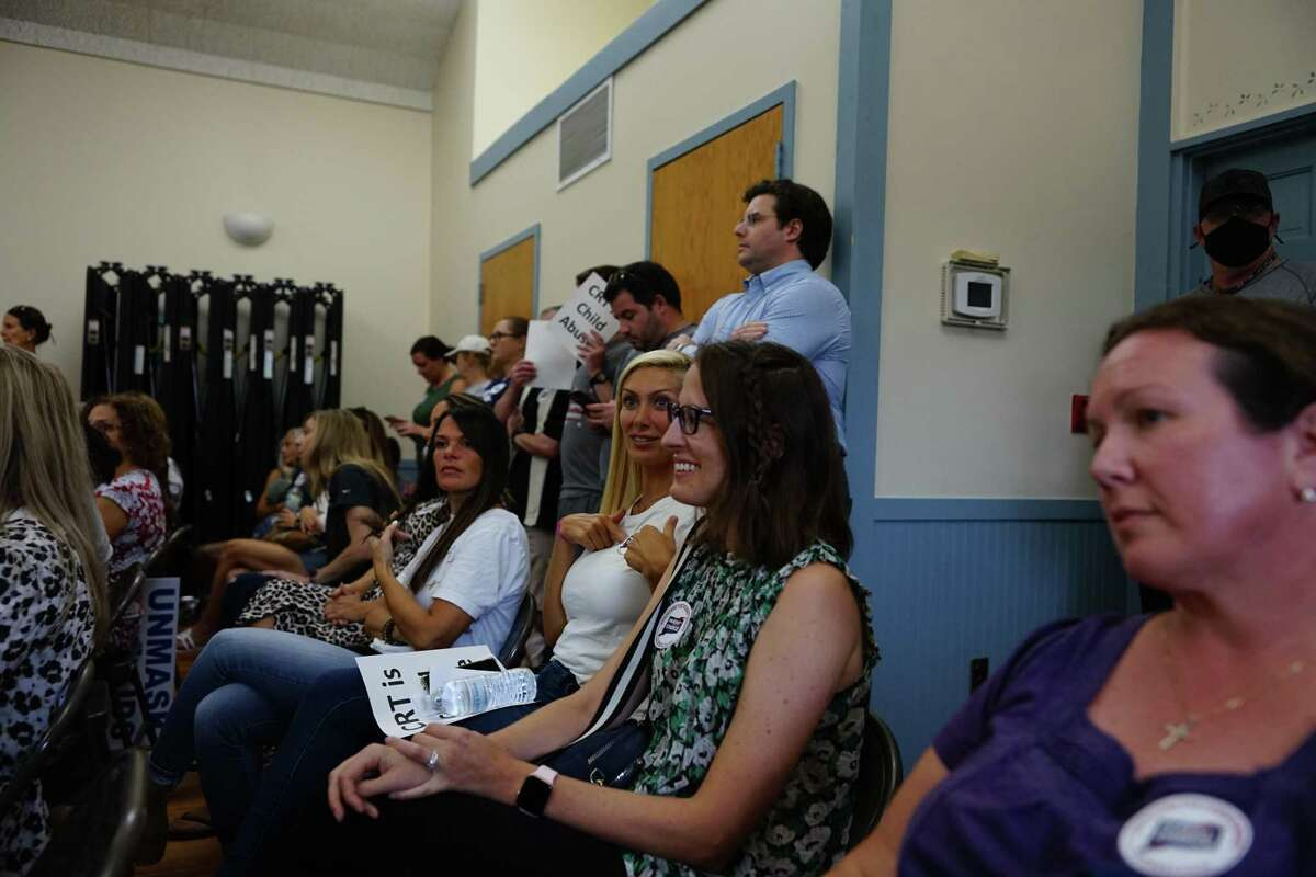 Parents filled the meeting room at the Long Hill Administration Building to speak out against Critical Race Theory on Tuesday, Aug. 17, 2021.