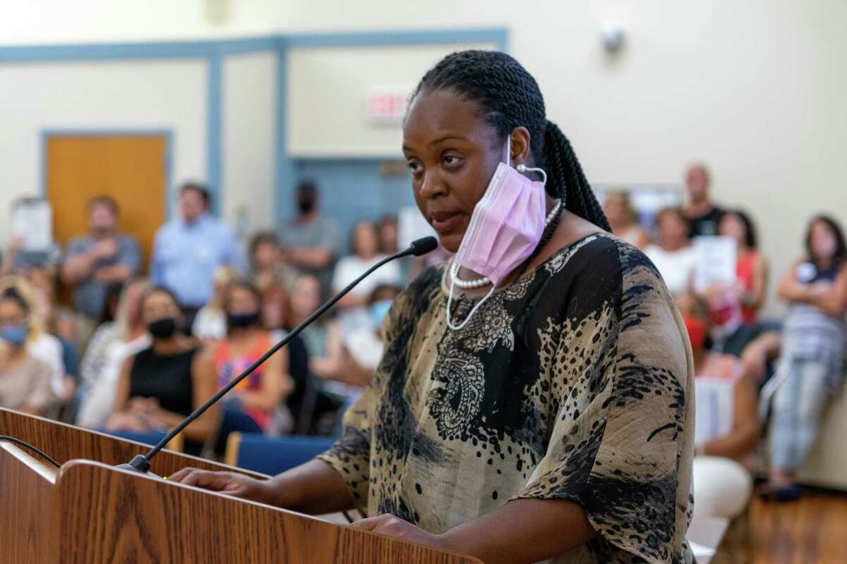 Challa Flemming speaks at the Trumbull Board of Education meeting Tuesday, Aug. 17, 2021.