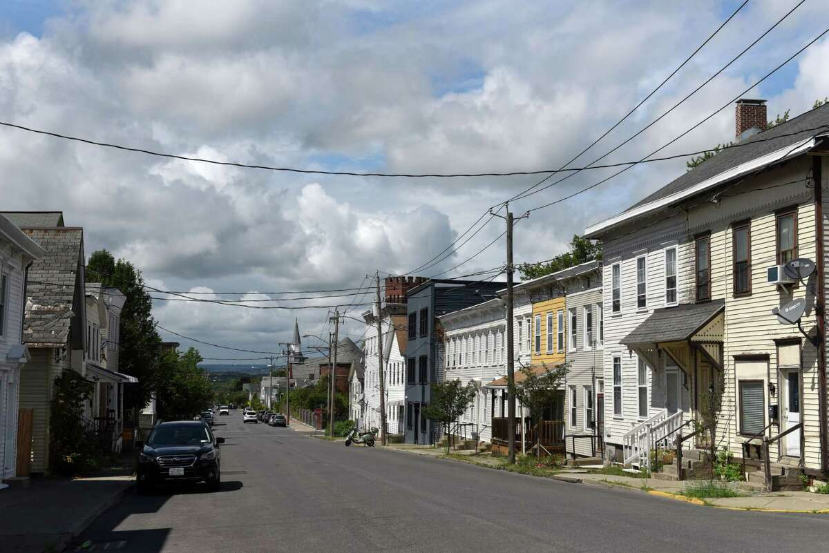 Homes along State Street on Thursday, Aug. 19, 2021, in Hudson, N.Y. Hudson's Common Council passed legislation Tuesday that would require landlords in the city to provide 'good cause' for refusing to renew a lease.