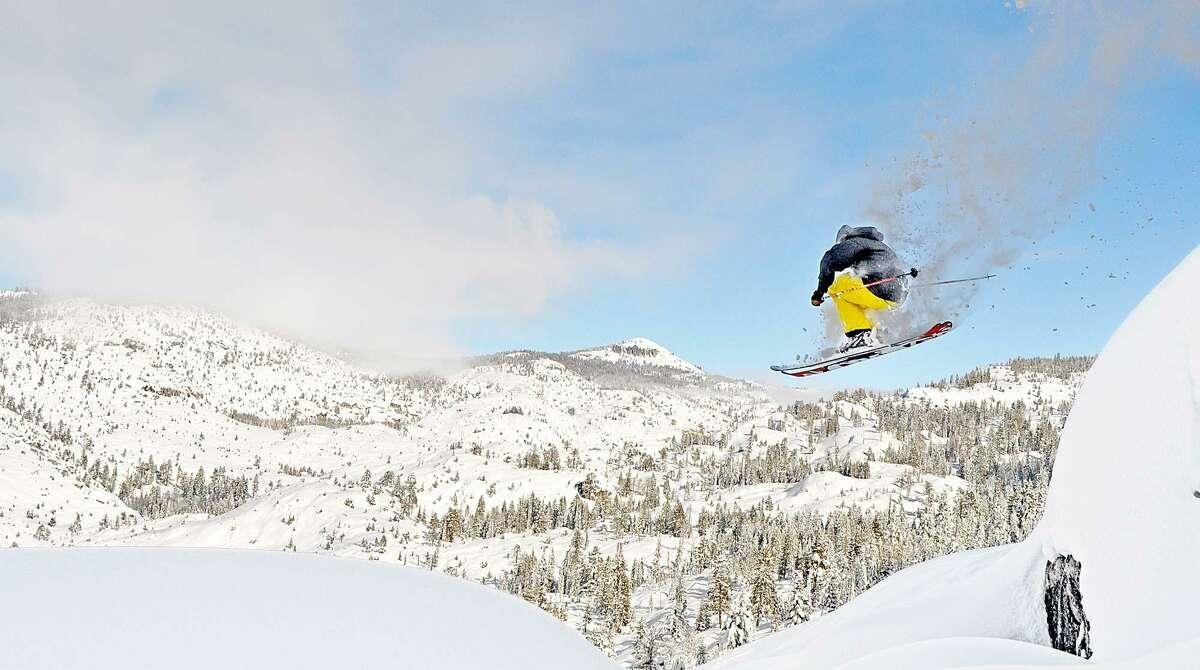 A skier in Dodge Ridge's Granite Bowl.