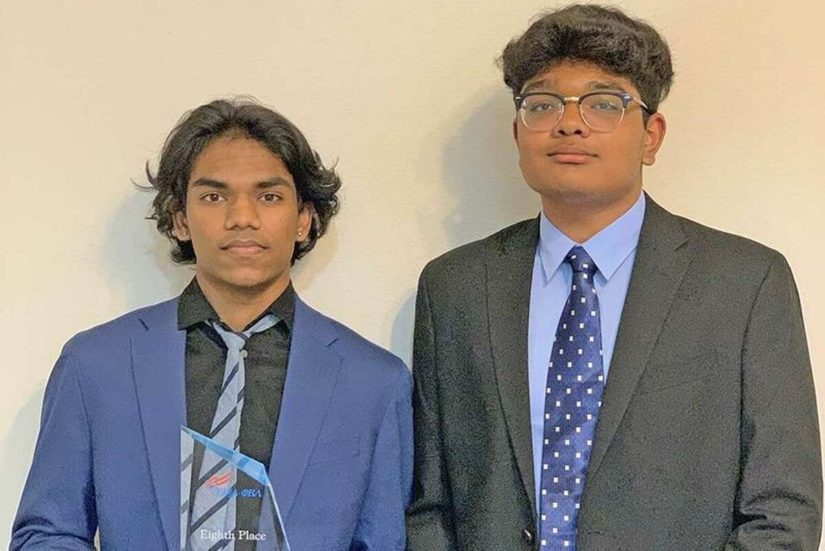 Bridgeland High School juniors Shreyan Katta, left, and Rithvik Katikaneni placed eighth overall in Introduction to Business Presentation at the Future Business Leaders of America (FBLA) National Leadership Conference. This is the first time students from Bridgeland placed at the national competition.