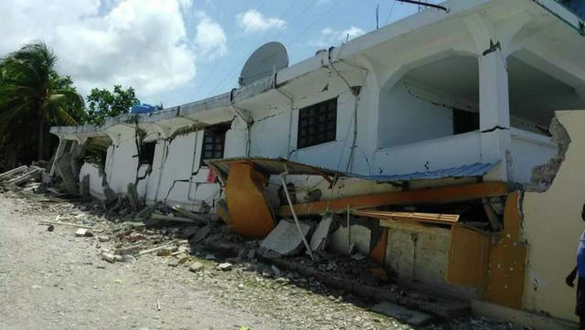 One of the damaged buildings from Les Cayes, Haiti. The earthquake on Saturday, Aug. 14, reached a magnitude of 7.2.