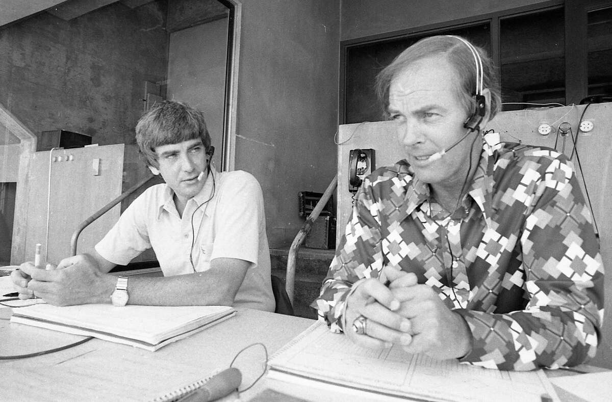 Oakland A's announcers Bob Waller and Monty Moore broadcasting the game action. May 27, 1976.