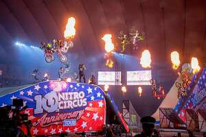 Performers conduct daring stunts in the 10th anniversary edition of Nitro Circus.